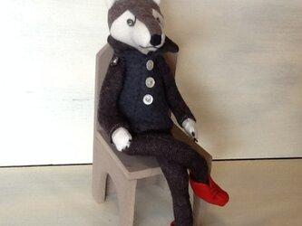赤い靴のオオカミ犬の画像