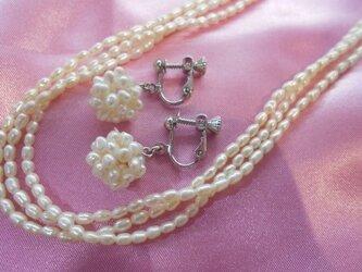 湖水真珠ネックレス イヤリングセット通販の画像