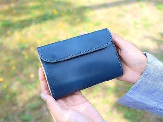 【受注生産品】三つ折り財布 ~栃木アニリン青×栃木サドル~の画像