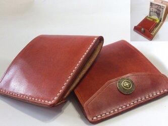 【右開口カードポケット2 赤茶 十字ホック】薄型シンプル札ばさみ MC-08+ マネークリップ ヌメ革の画像