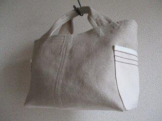リネンと帆布のマチたっぷりトートバッグ newAの画像