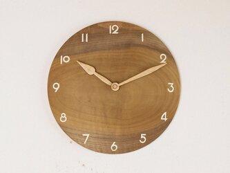 木製 掛け時計 丸 朴(ホオ)材1の画像