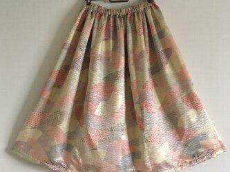 【訳あり】黄色綸子・扇面柄のギャザースカートの画像