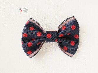【ユニセックス】畳のへりde蝶ネクタイ(赤水玉)の画像