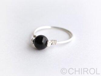 黒水晶 リング/ SV925の画像