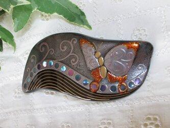 蒔絵バレッタ 蝶の画像