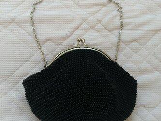 ビーズ編みがま口ポーチ 黒(13㌢口金)の画像