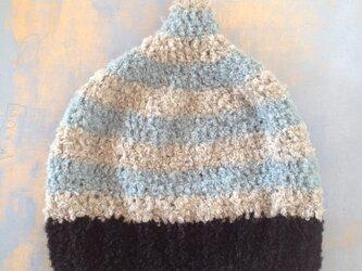 SALE ALPACA BOUCLE stripe blue  LLの画像