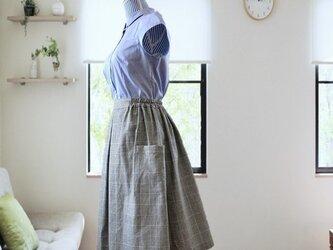 ギャザースカート グレーチェックの画像