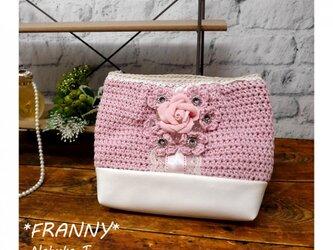 花のポーチ(ピンクローズ)の画像