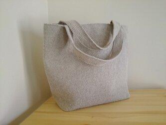麻糸編みスクエアトートバッグ 大きめサイズ 亜麻色の画像