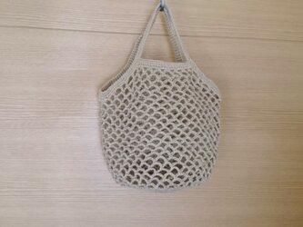 麻糸編みのネットミニバッグ 亜麻色の画像