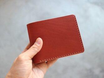 【受注生産品】二つ折り財布 ~イタリアリオショルダー赤茶×栃木サドル〜の画像