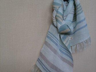 手織りストール ~草木染・麻~の画像