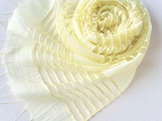 透かし織*淡檸檬色*コットンシルクストールの画像