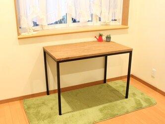 【お部屋スッキリ】無垢ナラ積層材によるすこし小さめのアイアン脚ダイニングテーブルの画像