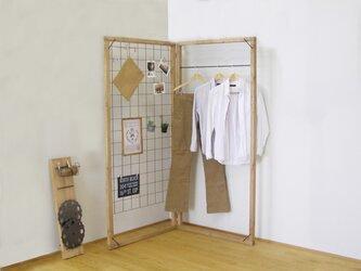 木と鉄で作った折り畳みのワイヤーラックとハンガーラック*ikou* その①の画像