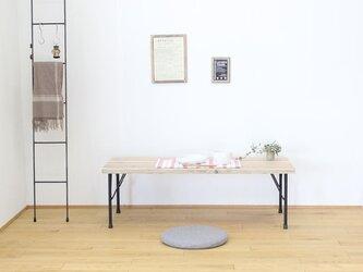天然杉の古材とアイアン(鉄)脚で作ったアンティーク調カフェ風カウンターローテーブル・座卓【ナチュラル】の画像