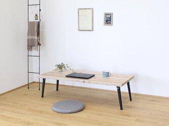 天然杉の古材と折れ脚(細)で作ったカフェ風カウンターローテーブル・座卓【ナチュラル】の画像