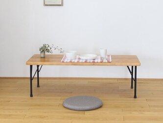 天然杉の古材とアイアン(鉄)脚で作ったアンティーク調カフェ風カウンターローテーブル・座卓【メープル】の画像