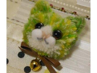 毛糸の子ネコブローチ(グリーン)の画像