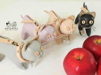 クレーマ 猫のキーポーチ Gattina Baffi(ガッティーナバッフィ)イタリア製シュリンクレザー使用の画像