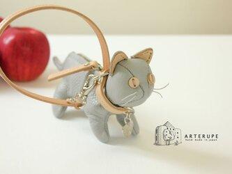 アコヤ 猫のキーポーチ Gattina Baffi(ガッティーナバッフィ)イタリア製シュリンクレザー使用の画像