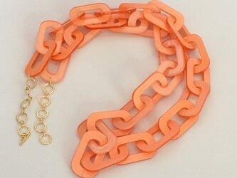 アクリルチェーンロングネックレス - オレンジの画像