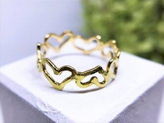 ◆K18◆ つながるハートのリングの画像