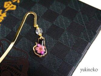 御朱印帳しおり 華 黒猫(ピンク)の画像