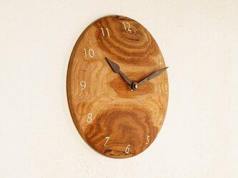 木製 掛け時計 丸 栗材5の画像