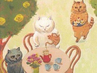カマノレイコ オリジナル猫ポストカード「お庭でコーヒータイム」2枚セットの画像