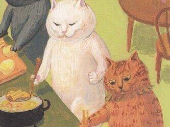 カマノレイコ オリジナル猫ポストカード「フライドポテト」2枚セットの画像