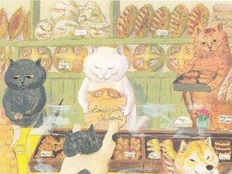 カマノレイコ オリジナル猫ポストカード「ブランジェリー」2枚セットの画像