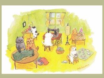 カマノレイコ オリジナル猫ポストカード「制作の時間」2枚セットの画像