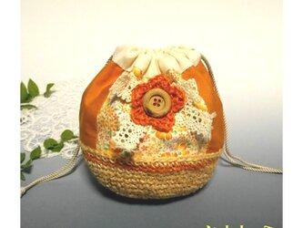 コットン布とジュート糸のきんちゃく(オレンジ)の画像
