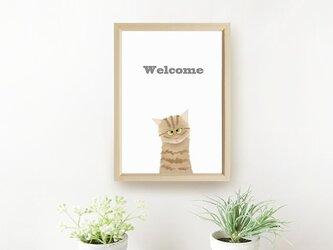 猫 ポスターA4 **玄関でお出迎え♪** 茶トラちゃんの画像