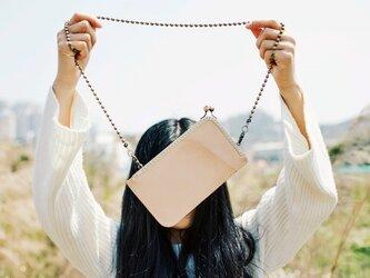 【切線派】がま口 本革のiPhoneケース スマホレザーショルダーバッグ 手縫い仕上げ TL043001の画像