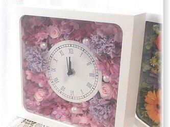NO114 プリザーブドフラワー ギフト 花時計(角型ライラック) 誕生日 送料無料の画像