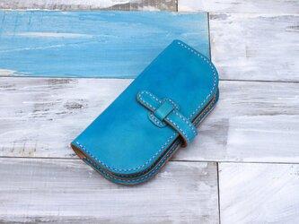 【切線派】牛革手作り手縫い収納長財布 手染め(001010)の画像