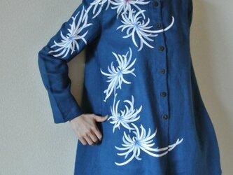 リネン・コートワンピース ブルー <乱菊>の画像