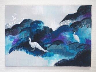 白い孔雀《アクリル原画キャンバスsizeSM》の画像