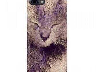 ブランド【L&T】(正面・紫猫1)2017年5月モデルスマホカバーの画像