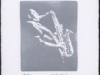 サックス奏者 ・ 銅版画 (作品のみ)の画像