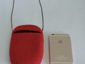 iPhoneポシェット cocoon(赤)Lサイズ※ポケット付の画像