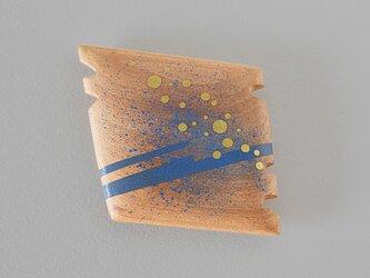 手鏡 直径4.8㎝ 幾何学模様(青&ゴールド)thinkingの画像
