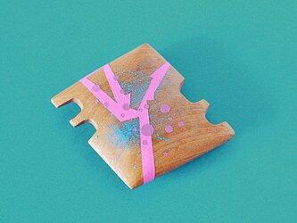 手鏡 small 直径3㎝ 幾何学模様(水色&ピンク)kagiの画像