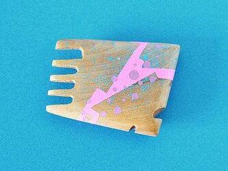 手鏡 small 直径3㎝ 幾何学模様(水色&ピンク)riverの画像