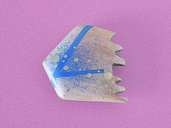 手鏡 small 直径3㎝ 幾何学模様(ブルー&ゴールド)oyoguの画像