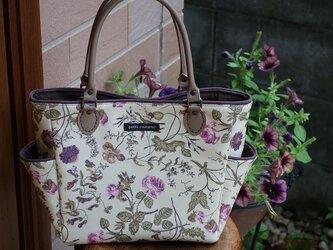 サイドポケットバッグS(リバティラミネート:ガーデンピンクローズ)の画像